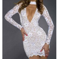 Sexy Women's Plunging Neckline Long Sleeve White Lace Dress