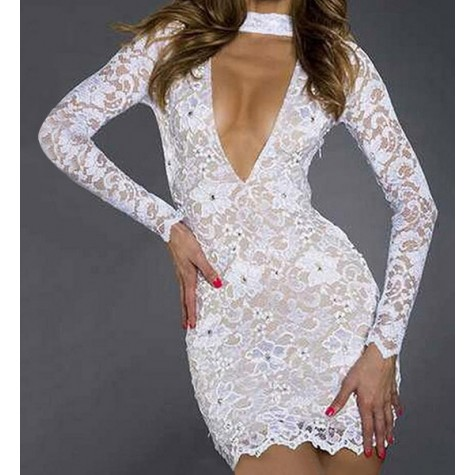 17991ee832 Sexy Women s Plunging Neckline Long Sleeve White Lace Dress Zoom. Product  ...