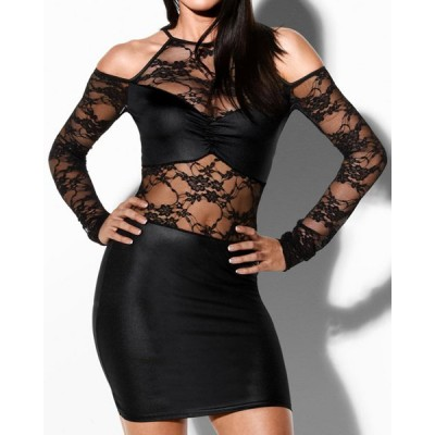 Sexy Women's Round Neck Hollow Out Lace Splicing Dress black
