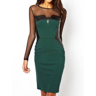 Sexy Women's Scoop Neck Long Sleeve Mesh Splicing Hollow Out Dress green