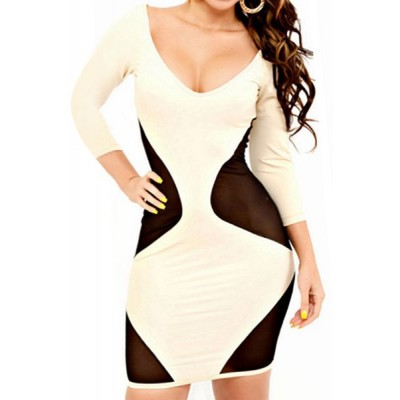 Sexy Women's V-Neck Backless 3/4 Sleeve Mesh Splicing Dress white