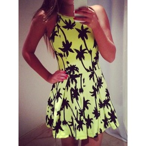 Simple Off-The-Shoulder Sleeveless Printed Dress For Women yellow plum