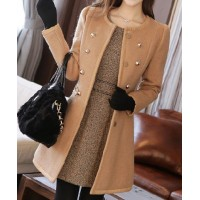Slim Fit Faux Fur Collar Long Sleeve Double-Breasted Coat For Women camel black white