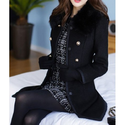 Womens Black Coat With Fur Collar | Down Coat