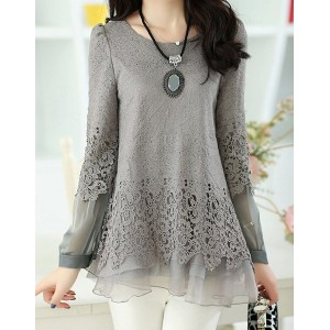 Solid Color Long Sleeve Round Collar Skirt Hem Lace Embellished T-shirt For Women gray black