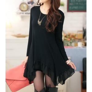 Solid Color Long Sleeve Scoop Neck Irregular Hem Chiffon Splicing Dress For Women black