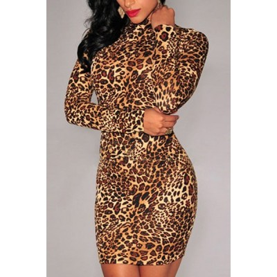 Stand Collar Long Sleeves Leopard Print Stylish Dress For Women