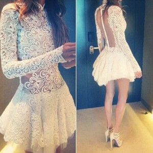 Stand Collar Long Sleeves See-Through White Elegant Lace Dress For Women white