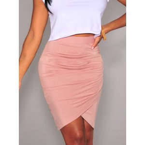 Stylish High-Waisted Solid Color Bodycon Skirt For Women pink black green