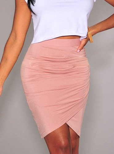 Stylish High-Waisted Solid Color Bodycon Skirt For Women pink ...
