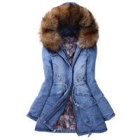 Stylish Hooded Long Sleeve Spliced Pocket Design Denim Coat For Women blue