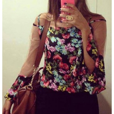 Stylish Off-The-Shoulder Long Sleeve Spliced Floral Print Blouse For Women