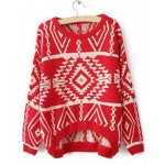 Stylish Round Collar Long Sleeve Geometric Asymmetrical Sweater For Women red blue black white