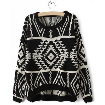 Stylish Round Collar Long Sleeve Geometric Asymmetrical Sweater For Women red blue black white