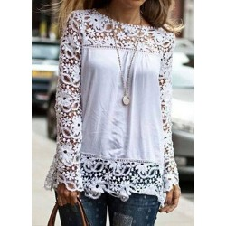 Stylish Round Neck Long Sleeve Spliced Hollow Out Blouse For Women white black blue