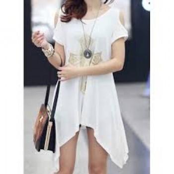 Stylish Scoop Neck Cross Off-The-Shoulder Short Sleeves T-shirt For Women white black