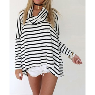 Stylish Turtle Neck Long Sleeve Striped Loose-Fitting Asymmetrical T-Shirt For Women