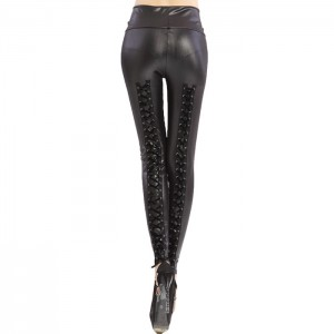 Stylish Women's Criss-cross Lace-up High-waisted Slimming Leggings black
