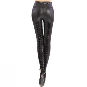 Stylish Women's Criss-cross Lace-up High-waisted Slimming Leggings black