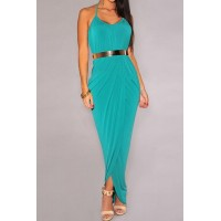 Stylish Women's Halter Side Slit Dress with Belt black blue green plum red olive