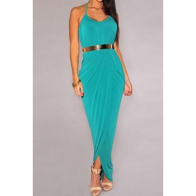 Stylish Women's Halter Side Slit Dress with Belt black blue green plum red olive