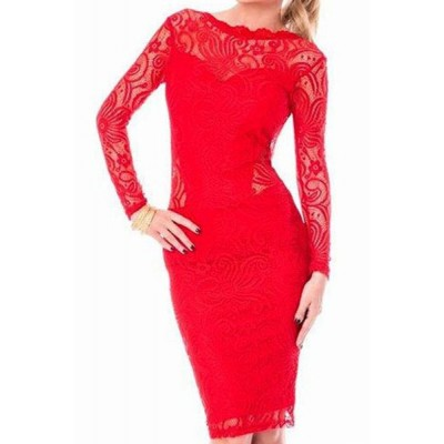 Stylish Women's Jewel Neck Long Sleeve Backless Lace Dress red