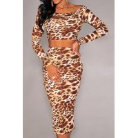 Stylish Women's Scoop Neck Long Sleeve Leopard Print Suit