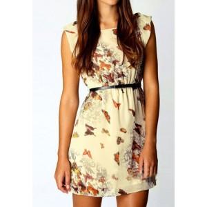 Stylish Women's Scoop Neck Short Sleeve Print Chiffon Dress brown purple