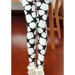 Stylish Women's Slimming Star Print Leggings white