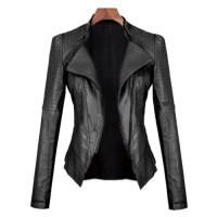 Turn-Down Collar Long Sleeves PU Leather Black Stylish Jacket For Women