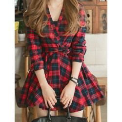 V-Neck Long Sleeves Plaid Belt Stylish Dress For Women red