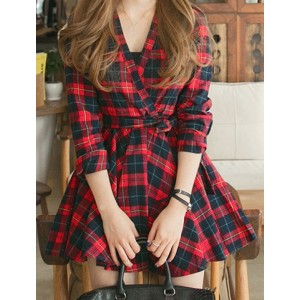 V-Neck Long Sleeves Plaid Belt Stylish Dress For Women red