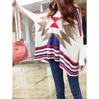 Vintage V-Neck Long Batwing Sleeve Geometric Sweater For Women