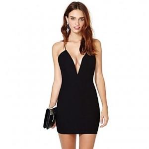 Women's Plunge Neck Sleeveless Bodycon Mini Cami Dress black
