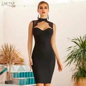 Adyce 2021 New Summer Women Black Lace Bandage Dress Sexy White Backless Hollow Out Midi Celebrity Evening Runway Party Dresses
