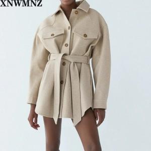 XNWMNZ Za Women 2020 Fashion With Belt Loose Woolen Jacket Coat Vintage Long Sleeve Side Pockets Female Outerwear Chic Overcoat