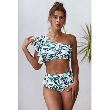 Green Floral Print Ruffled Single Shoulder High Waist Bikini