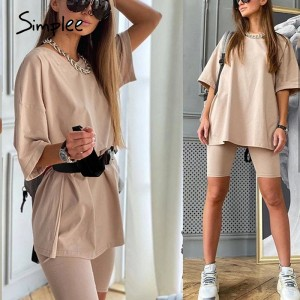 Simplee Casual solid women's two piece suits with belt