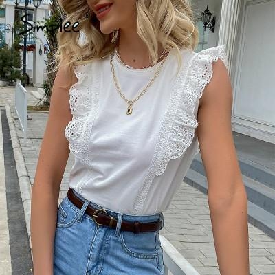 Simplee Elegant Solid Ruffled Women T-shirt Cotton White O-neck Sleeveless Tank Tops Summer White Basic All-match Female T-shirt