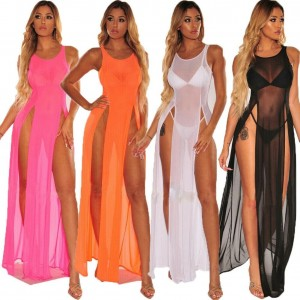 Bikini Cover Ups Women Mesh Sheer See Through Sexy Beach Dress Sleeveless Split Maxi Dress Swimsuit Sarong