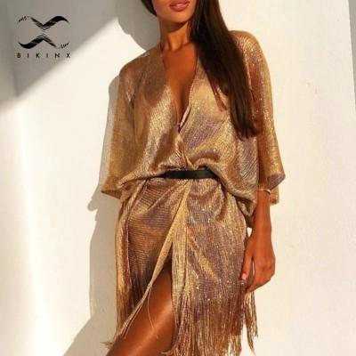 Tassel gold bikini cover up Sexy beach dress tunics for women beachwear 2020 Summer See through swimsuit cover-ups kaftan new