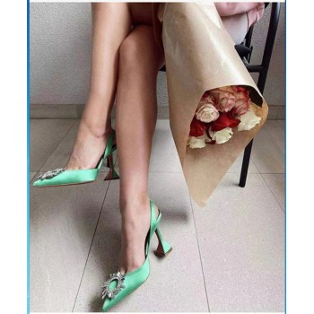 2021 Brand women Pumps luxury Crystal Slingback High heels Summer bride Shoes Comfortable triangle Heeled Party Wedding Shoes