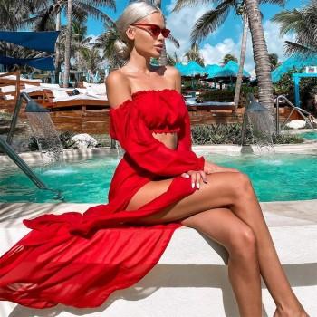 Women Mesh Sheer Bikini Cover-ups Set See-through Long Sleeve Crop Tops and Cover Up Skirts Two Piece Swimwear Beach Dresses