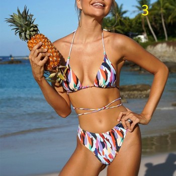 Brazilian triangle micro bikini set String backless swimsuit High cut swimwear women Beach wear Sexy print bathing suit Biquini