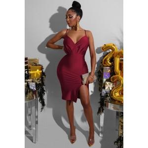 Red V Neck Slip Slit Dress