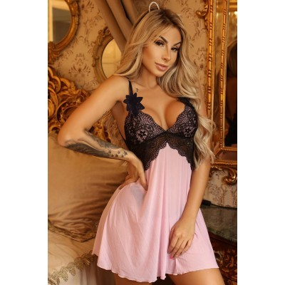 Black Lace Bralette and Pink Babydoll Nightdress