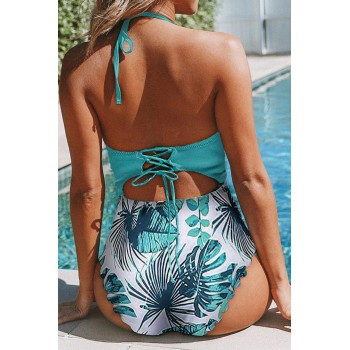 Black Floral Print Halter One-piece Swimsuit Orange Green
