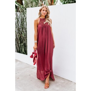 Red Crochet Detail Linen Sleeveless Maxi Dress with Slits