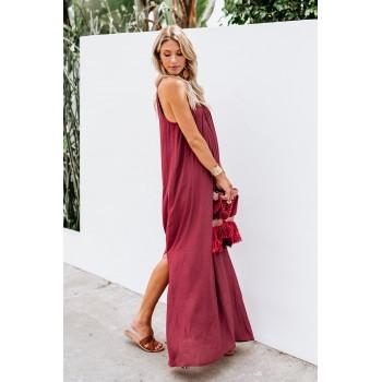 Red Crochet Detail Linen Sleeveless Maxi Dress with Slits