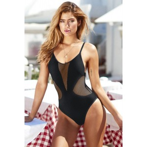 White Mesh Hollow-out One-piece Swimsuit Black